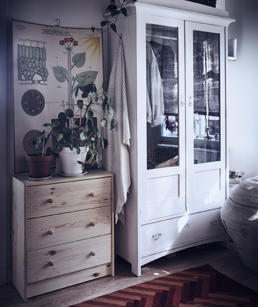 Шкаф и гардероб в коридор с расетния и картини на стената.