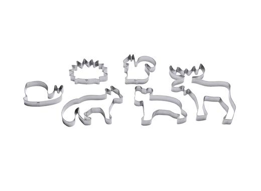 Шест метални форми за рязане на тесто с формата на животни.