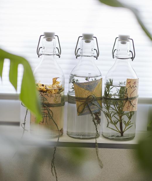 Стъклени бутилки, пълни с течности и билки с ръчно изработени етикети.